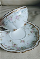 Theodore Haviland Limoges teacup saucer pink rose