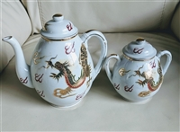 Gold dragons decorated teapot and sugar bowl Japan