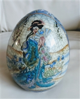 Blue and white chinese egg Geisha floral border