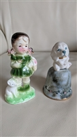 Wales girl with dog porcelain decor and dog bell