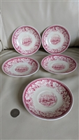 View of New York Currier and Ives saucers red pink