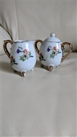 Enesco small creamer and sugar bowl gold trim