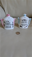 Teapot blue and pink salt and pepper shakers Japan