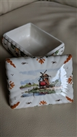 DELFT porcelain sign WINDMILL trinket storage box