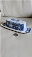 Staffordshire Liberty Blue covered butter dish