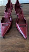 ENZO ANGIOLINI heels in red leather upper sz 7.5
