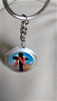 Clear plastic religious key chain Cross Jesus