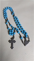 Blue FIRST COMMUNION rosary with metal cross