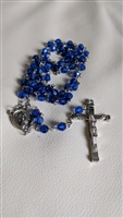 Navy blue beads and metal cross rosary