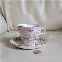 Phoenix T Forester chintz pink roses teacup saucer