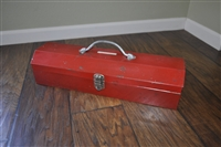 Metal toolbox with inner shelf