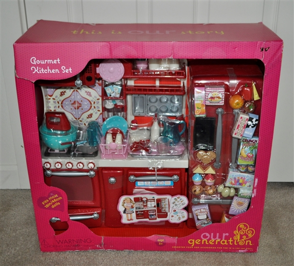 our generation gourmet kitchen set for 18 inch dolls includes 69 playable pieces for ages 3 and up. Black Bedroom Furniture Sets. Home Design Ideas