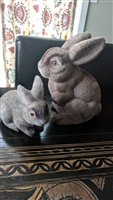 Flocked bunny rabbit toy and money bank
