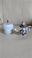 Porcelain Apple and Teapot trinket box storage
