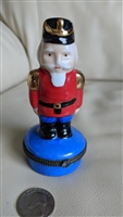 Porcelain Nutcracker soldier trinket treasure box