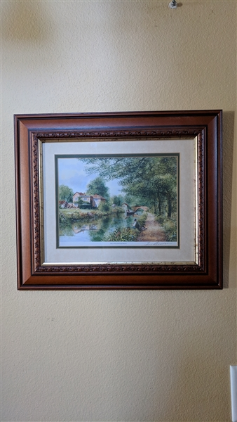 Terry Harrison Pencil Sign Print The Anglers Retreat In An Ornate Wooden Frame