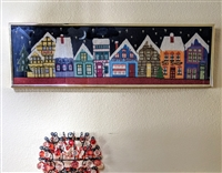Handcrafted needlepoint store alley framed decor
