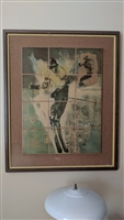 Lou Zansky RARE tile mosaic On the slopes skier 70