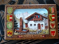Austrian wooden family crest wall hanging