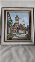 Needlepoint work framed landscape scenery