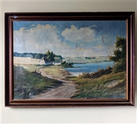 E Birk vintage oil on canvas large painting