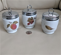 Royal Worcester England egg coddlers peach berry