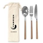 Faux Woodgrain 18/8 Cutlery Set in Pouch