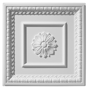 English Lamb's Tongue Center Rosette Plaster Ceiling Tile