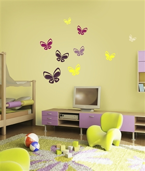 Techno Mod Butterfly wall decals stickers