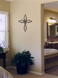 Crystal Cross Wall or Car Decal Sticker