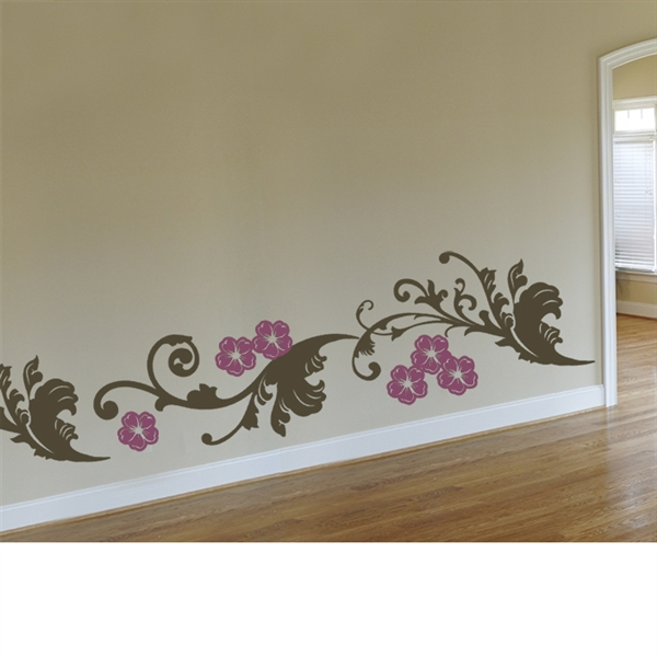 Bon Curly Floral Bottom Border Wall Decal Sticker