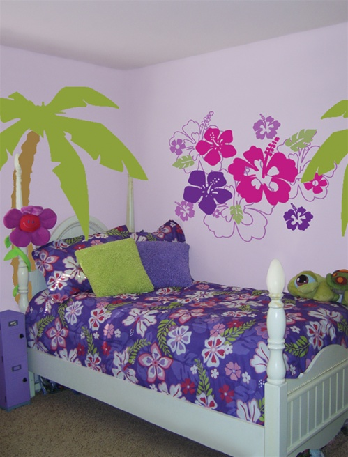 hawaiian hibiscus flowers wall decals stickers
