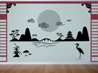 Japanese Asian Landscape Scene wall decal sticker