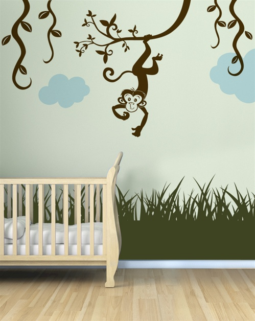 monkey with vines wall decal sticker. Black Bedroom Furniture Sets. Home Design Ideas