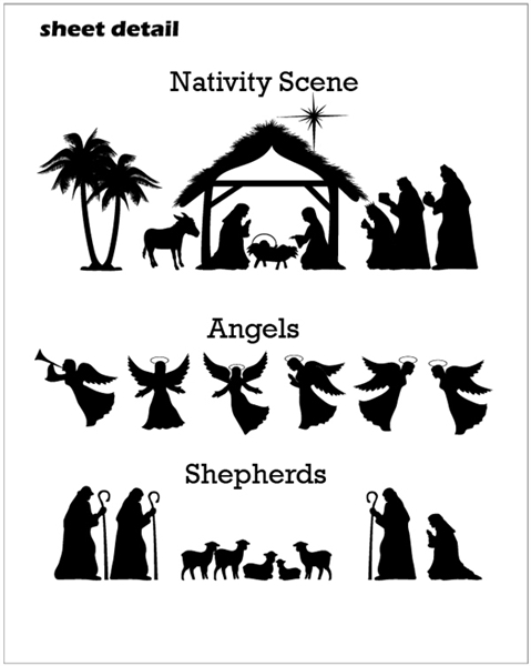 christ nativity scene wall decal sticker set