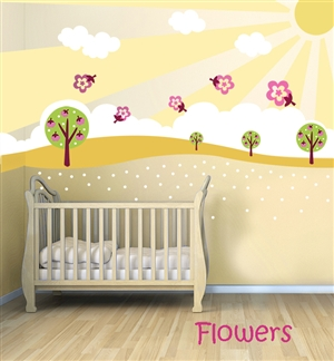 Sunny Day  - Tree Hillside - Flower - Blossom - wall decals stickers