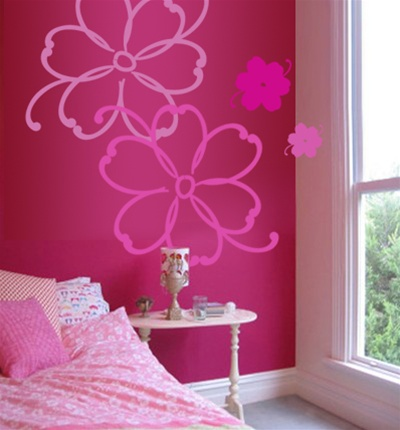 Tropical flowers wall decals stickers for Stickers para dormitorios