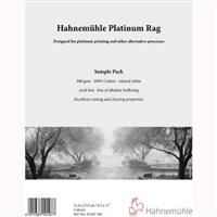 Hahnemuhle Platinum Rag 300gsm Sample Pack 8.5inx11in 5 Sheets
