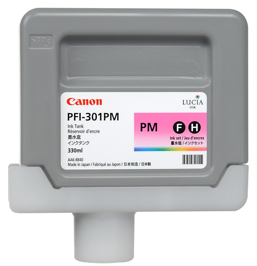 Canon PFI-301PM Photo Magenta Ink Tank (330ml) for imagePROGRAF iPF8000, iPF8000S, iPF8100, iPF9000, iPF9000S, iPF9100 - 1491B001AA