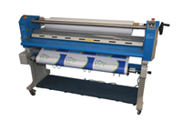 "GFP 63"" Top Heat Laminator w/ Swing Out Shafts & Stand With Rear Rewind Motor/Slitter/Tube Assembly"