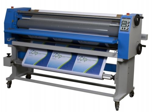 "GFP 865DH-4R 65"" Dual Heat Laminator w/ Swing Out Shafts 89"" x 38"" x 50"""