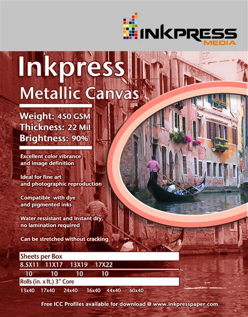 "Inkpress Metallic Canvas 450gsm 11"" x 17"" - 50 Sheets"