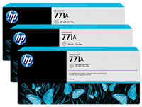 HP 771A 3-pack 775-ml Ink Cartridge - Light Gray