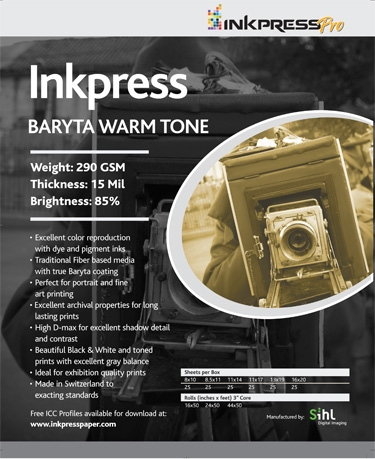 "INKPRESS Baryta Warm Tone 11""x17"" 25 sheets"