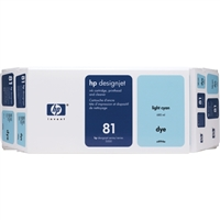HP 81 Value Pack 680-ml Light Cyan DesignJet Dye Ink Cartridge and Printhead
