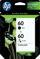 HP 60 Combo Pack Black/Tri-Color Ink Cartridges