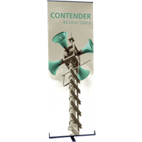"Orbus Contender Mini 23.5"" Wide Single Sided Retractable Banner Stand - Black -"