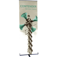 "Orbus Contender Mini 23.5"" Wide Single Sided Retractable Banner Stand (Silver)"