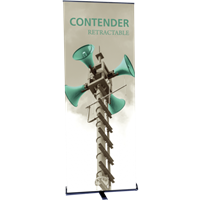 "Orbus Contender Standard 29.5"" Wide Single Sided Retractable Banner Stand (Black)"