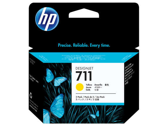 HP 711 3-PACK Yellow 29-ml ink cartridges